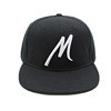 Custom Flat Peaked Hiphop Caps 100% Acrylic Black Large M Embroidery Snapback Hats