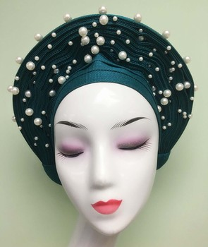 Nigerian Auto Gele Aso Oke Headtie Wedding Aso Ebi Ready To Wear Headtie Gele