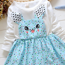Alibaba China suppliers New Fashion Fall Girl Striped Dot Cat Baby Long Sleeve Dress Baby Girl Party Dress