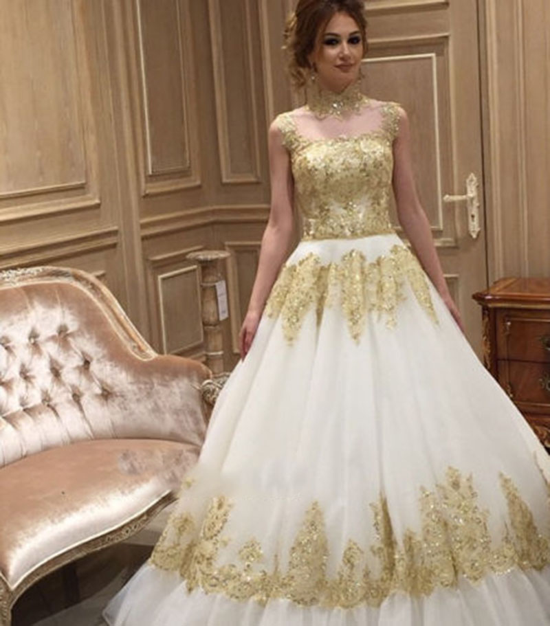 Ivory Wedding Gowns: Aliexpress.com : Buy White Ivory Wedding Dress Gold High