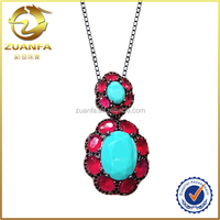 nice looking good quality turquoise gemstone paved brass necklace jewelries women