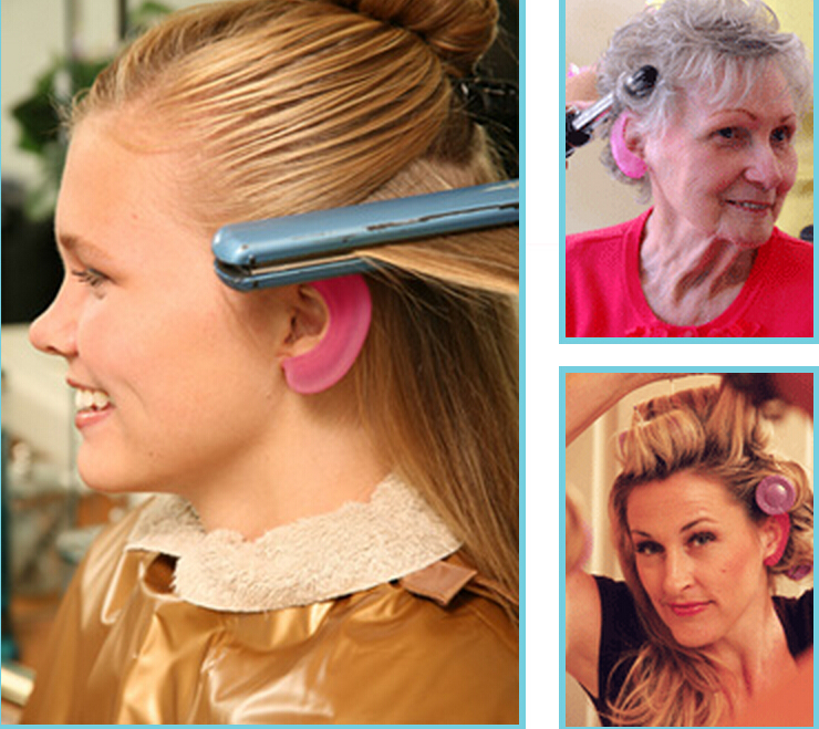 Silicone ear protectors shields sell by pair protects ear from dryers/ lrons and chemicals