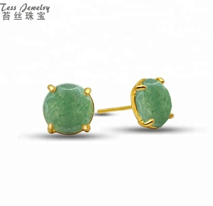 Fashion High Quality Green Jade Faceted Round Stud Earring 14K Gold Design Plated Gemstone Earrings