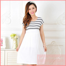 Maternity Dress Casual Cotton Summer Dress Maternity Wear Plus Size Patchwork Stripe Pattern Pregnancy Dress Vestido Amarelo
