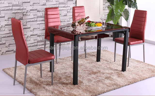 High Quality Red Glass Dining Table , Dining Table With Colored Glass Table  Tops