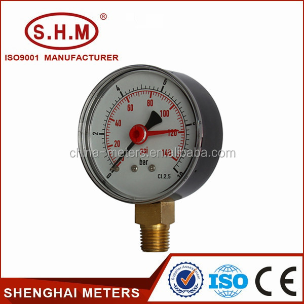 Low price double pointer presure meter, bottom connection pressure gauge