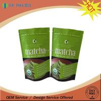 Stand up foil ziplock custom printed packaging matcha / tea leaf bags