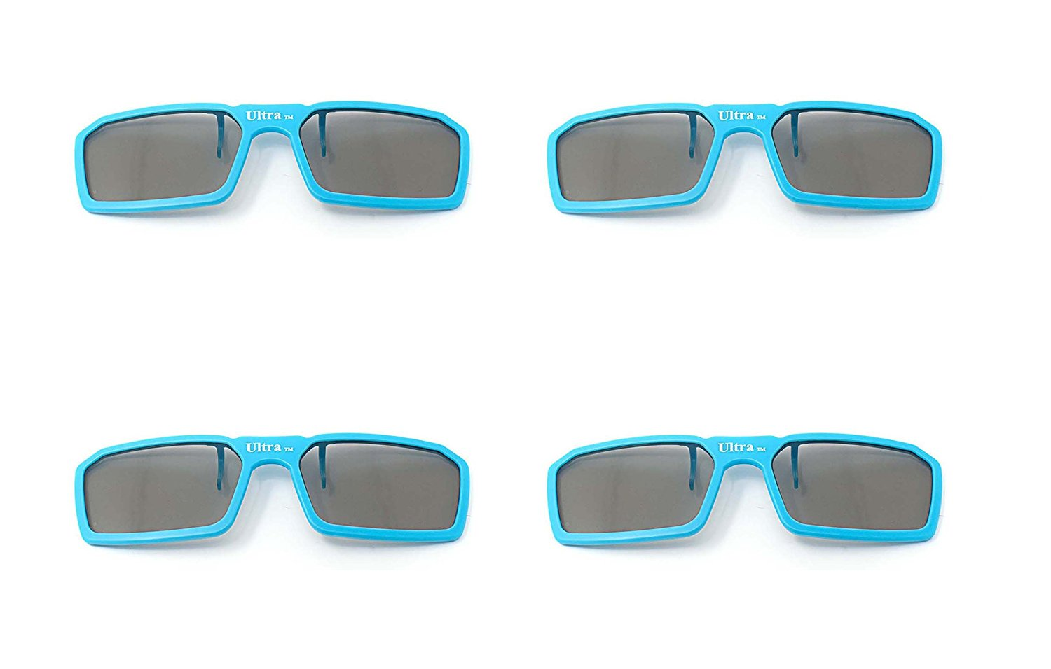 UltraByEasyPeasyStore 4 Pairs of Passive Universal 3D Standard Clip on Glasses for Prescription Eyewear for use W/ all Passive 3d Tvs Cinema & Projectors (4 x Blue Clip on 3D)