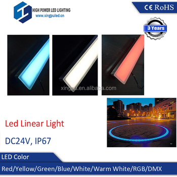 Outdoor IP67 project inground Led Linear Light Tempered glass can through car