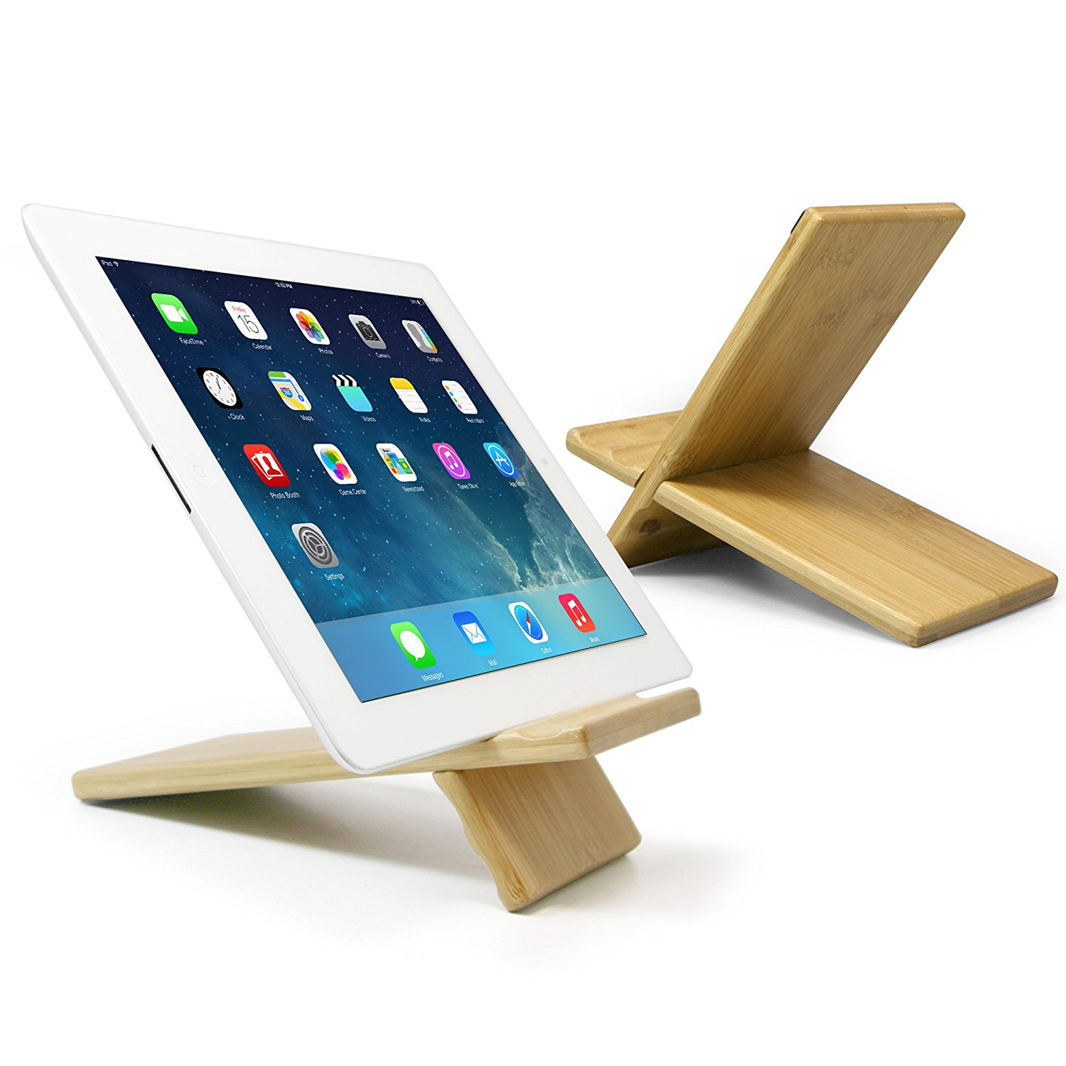 SunSmart Natural Wood Bamboo Hard Panel Stand for iPhone,iPad,Samsung Mobile Phone,Tablet PCs Artwork and More eReaders Bamboo