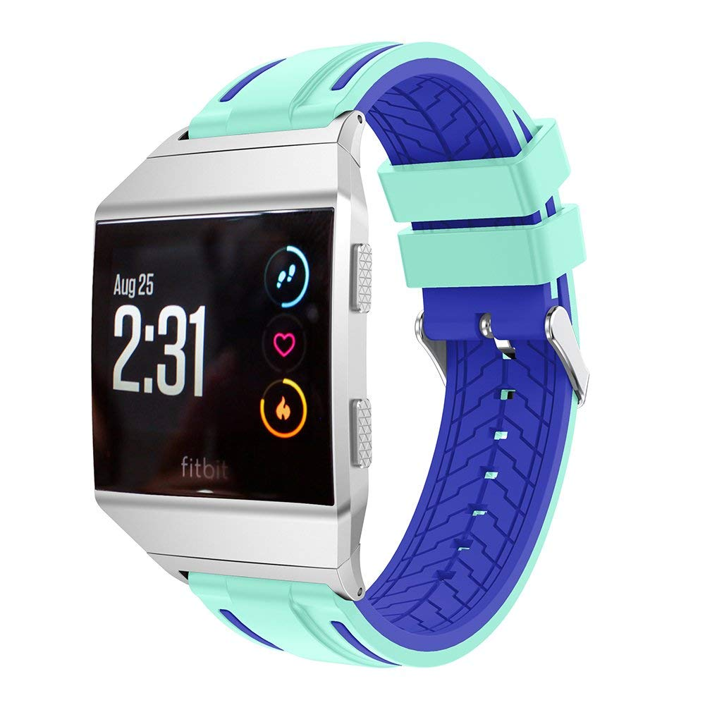 for Fitbit Ionic Band, Soft Silicone Replacement Sport Band for Fitbit Ionic Smart Fitness Watch (Mint Green+Velvet)