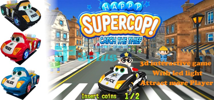 Police Car Blue Kids Rides Coin Operated 3d Interactive Game