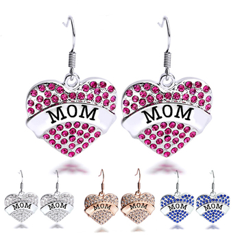 Colorful Mom Letters Engraved Rhinestone Heart Simple Silver Earring Designs For Women Gift