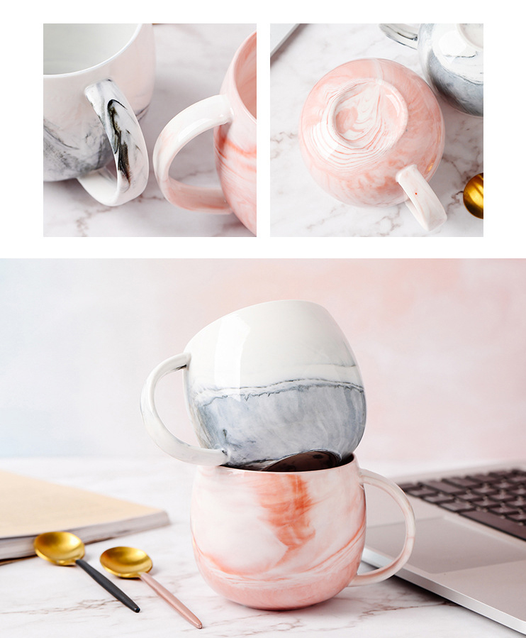 Bulk Sale Pink Ceramic Marble Milk Mug Cup Custom Logo 400ML Round Ceramic Coffee Mug