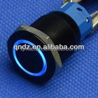 QN19-C1 19mm 12V blue Led Angel Eye Metal Momentary black car switch