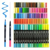 Waterolor Brush Pen With Two-end Tip,Dual Tip Color Pen For Kids In Stock