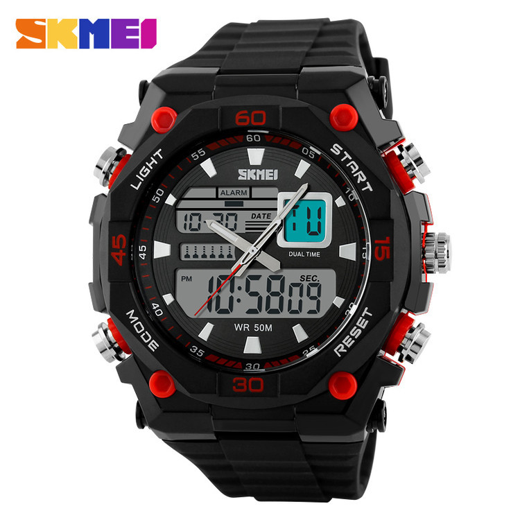 2015 skmei new arrival japan mov't and battery,imported EL lighting chip analog digital watch