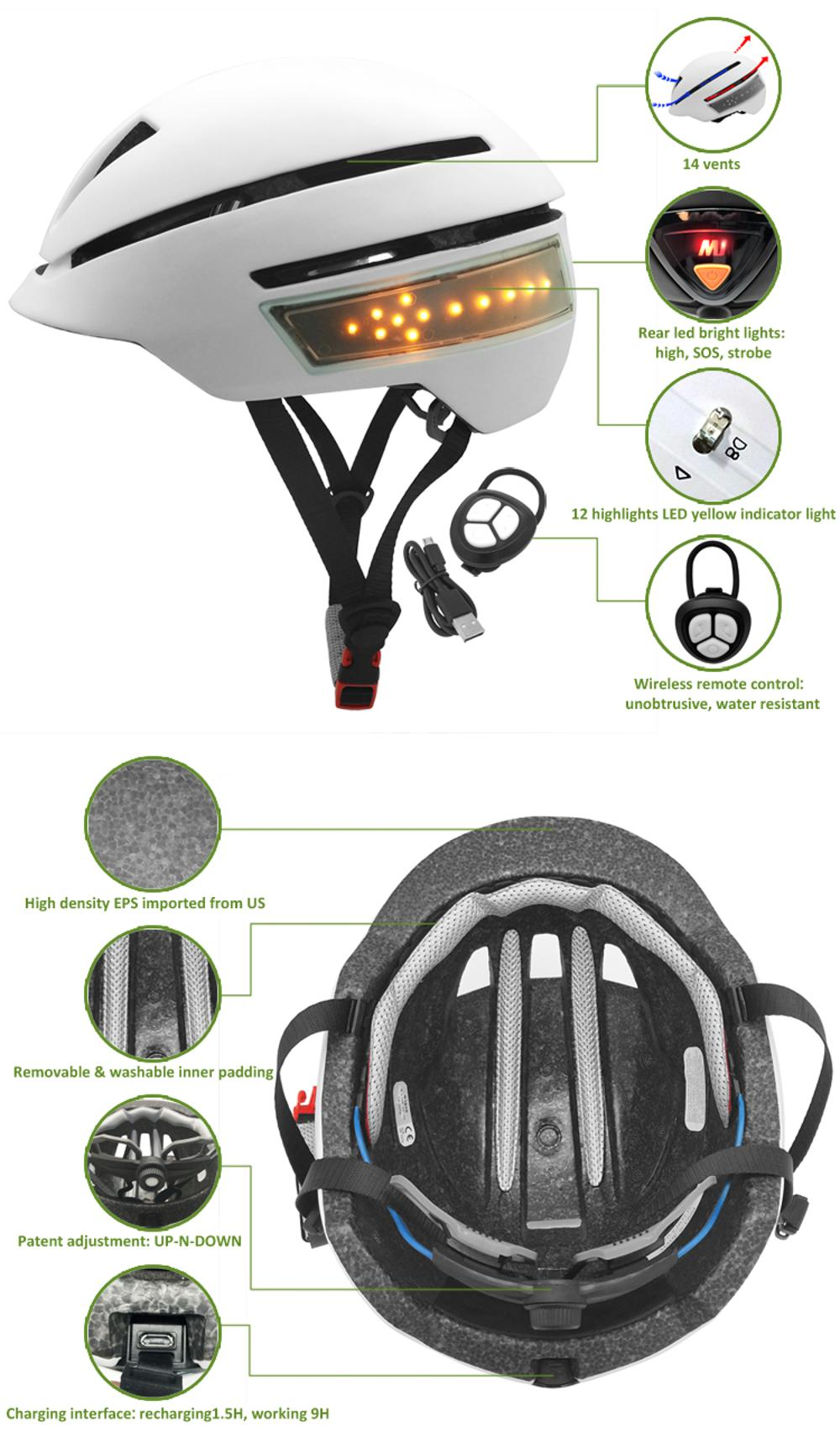 New micro USB rechargeable smart led bicycle helmet 7