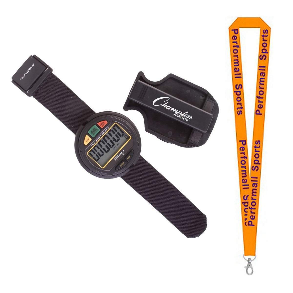 Champion Sports Big Display Stop Watches Assorted Colors and Sizes with 1 Performall Lanyard