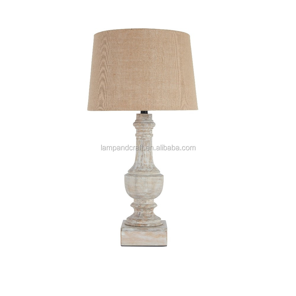 Antique Style Ce Approve Brown Wood Table Lamp With Brushed Nickel ...