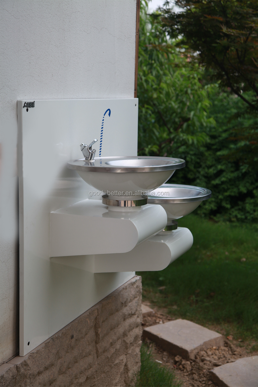 2014 hot selling double basin wall mounted indoor drinking water ...