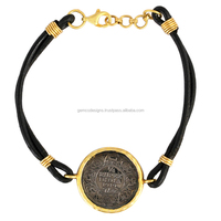 14k yellow gold coin charm bracelet, 925 sterling silver disc charm leather cord macrame bracelet Victorian wholesale jewelry