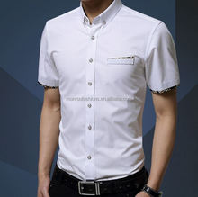 Monroo Mercerized cotton summer new men's short-sleeved cotton shirt Slim Korean men's fashion casual shirt