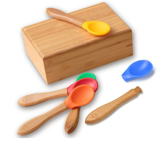 Mini eco friendly Wood bamboo serving spoon with a box for baby using