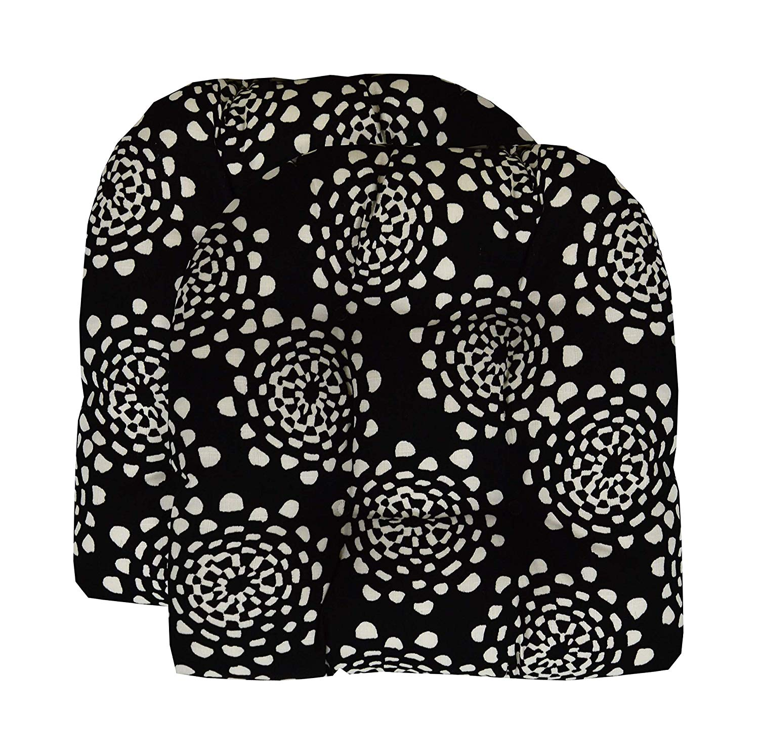 """RSH Décor Indoor Outdoor Wicker- Set of 2 Tufted U - Shape Chair Cushion - Black & White Abstract (19""""W x 19""""D)"""