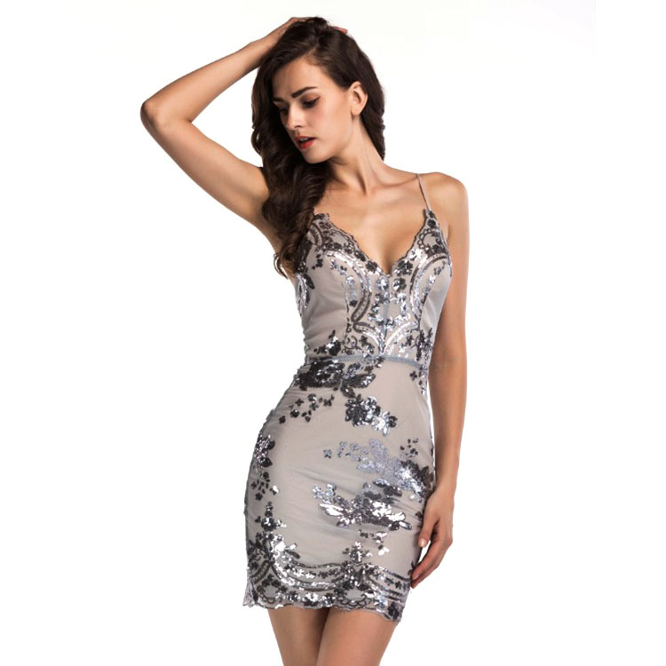 Heißer Damen Sexy Design Party Floral Pailletten verband bodycon Feste Frauen Kleider