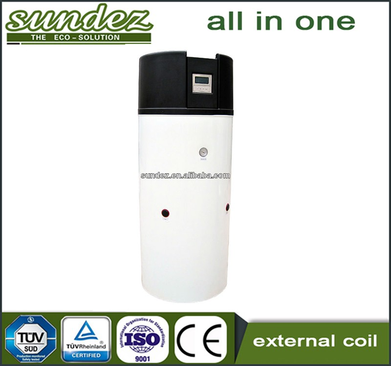 Sundez all in one heat pump external coil heatpump air water Hitachi rotary for home appliance heating and hot water