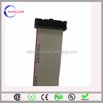 1.27mm Ul2651 28awg 24 Pin Flat Ribbon Cable With 2.54mm Idc