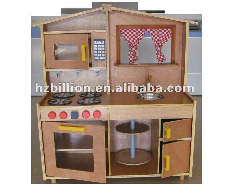 Kids&children Big Wooden Kitchen Sets Toy In Natural Color
