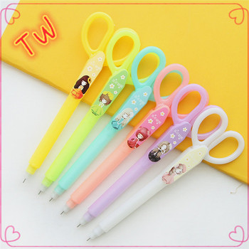 Cute Scissors Design Plastic Gel Pen In Stock Novelty Office Pens Stationery Items Names Whole
