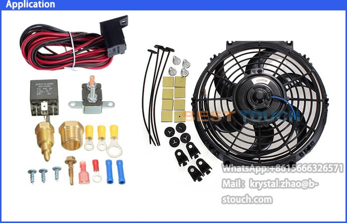 175~185 Degree Engine Cooling Fan Thermostat Temp Switch Sensor 4pins Relay Kit