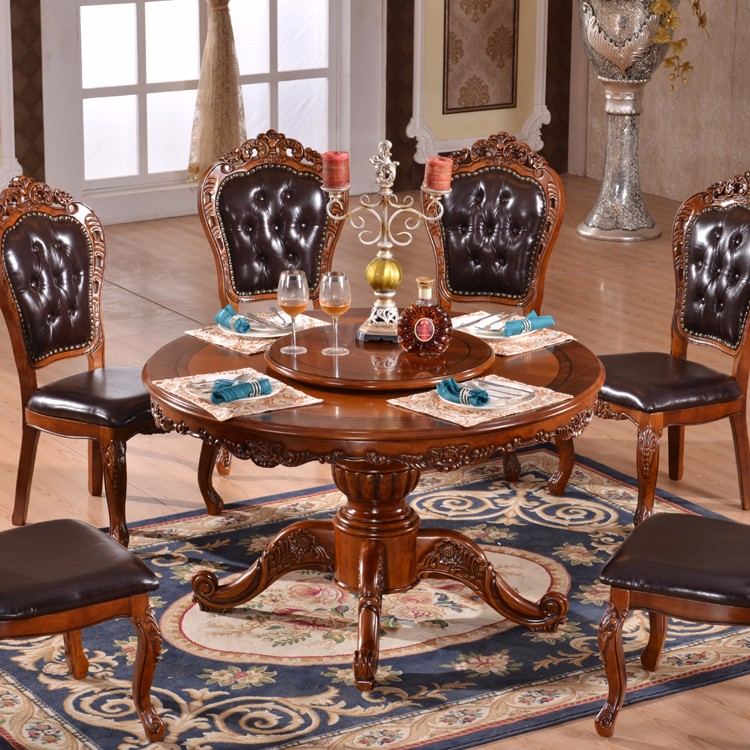 Salle A Manger Antique Ronde Table Rotative Avec Chaises En Cuir Buy Table Rotative Antique Table Ronde Table A Manger Ronde Avec Chaises En Cuir