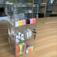 Locakble Acrylic accessory car/wall charger aux cable Display Case, cell phone charging station Store earphone Counter Display