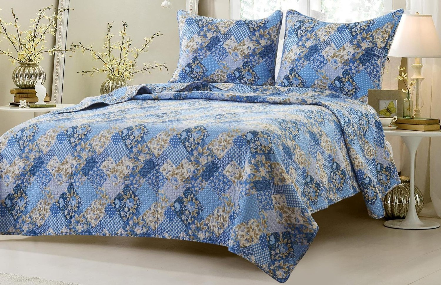 Web Linens Inc 3pc Floral Blue Patchwork Quilt Set - Style # 1048 - King/California King - Cherry Hill Collection
