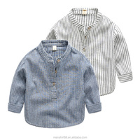 Long Sleeve Kid 100% Cotton Wholesale High Quality Men Stripe Polo Shirt