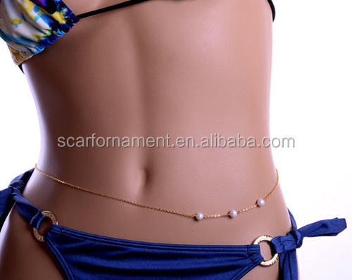 Beautiful Ladies Pearl Body Jewelry Indian Gold Belly Chain Design