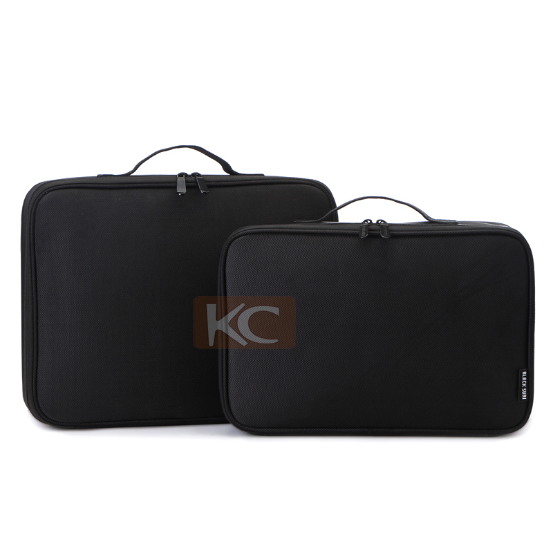 Travel small size black beauty case nylon makeup bag with compartments inside