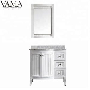 VAMA 36 inch white color hot sale cheap single sink bathroom vanity cabinet 717036
