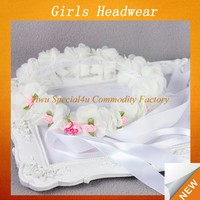 Top rose headband hot pink flower crown white flower ribbon wedding design for headband with fabric flower Lyd-778