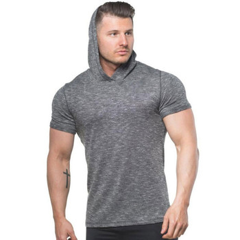 Athletic Gym Apparel Men Hoodies Workout Gym Clothing Short Sleeve Sports Men's Hoodies Sweat T-shirts