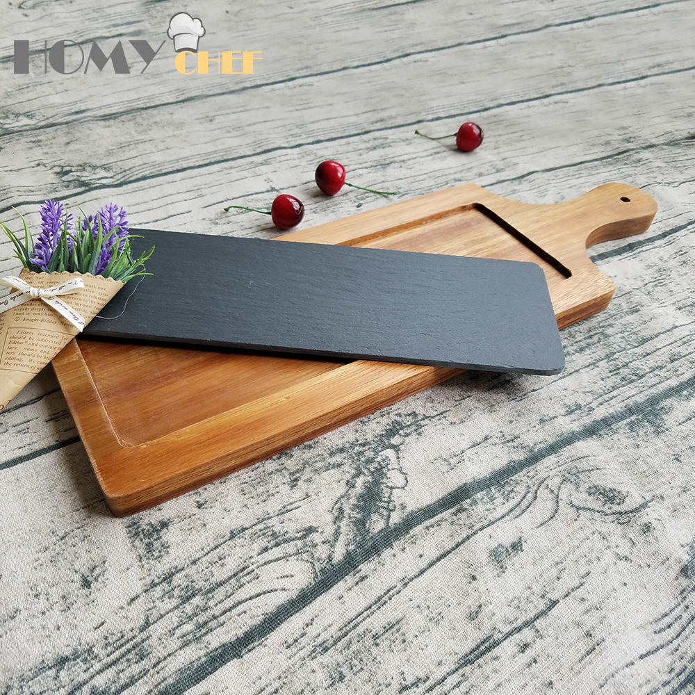 Top quality 100% natural slate stone diy wood serving board