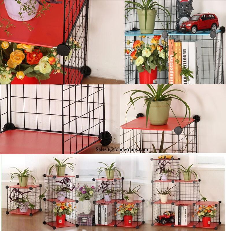 Beautifully Designed Living Room Metal Mesh Organizer Cube Storage Shelf