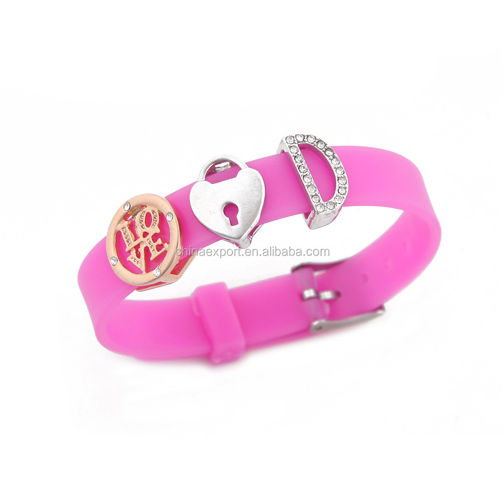 DIY jewelry silicone pink color charm bracelet