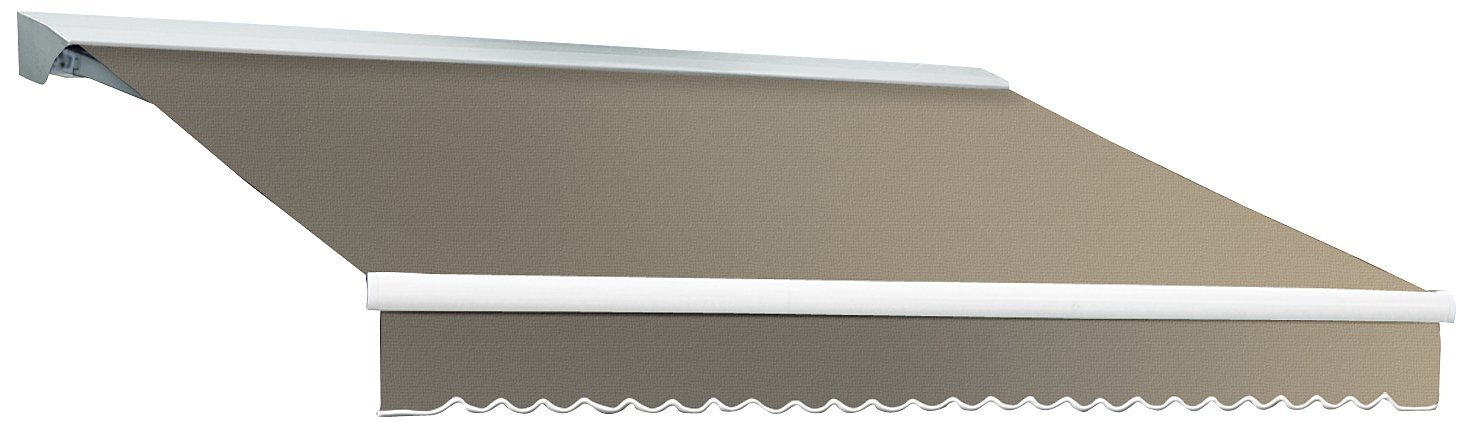 AWNTECH 12-Feet Destin-LX Hood Right Motor with Remote Retractable Awning, 120-Inch, Taupe