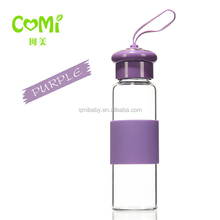 silicone cover high Borosilicate glass water bottles / glass tumbler 250ml
