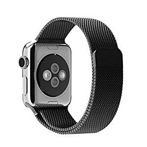 Apple Watch Band, AsiaFly® Black Milanese Loop Stainless Steel Bracelet Strap Band for Apple Watch 42mm All Models No Buckle Needed